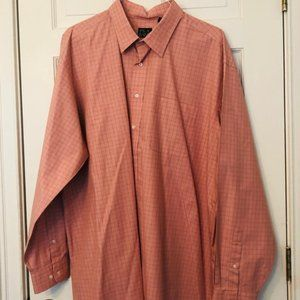 Jos A Bank Salmon and Blue Long Sleeve Dress Shirt
